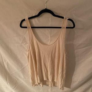 White speckled tank with scoop back